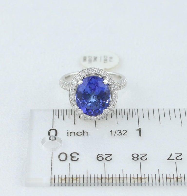 5.83 Carat Oval Tanzanite Diamond Gold Ring For Sale 3