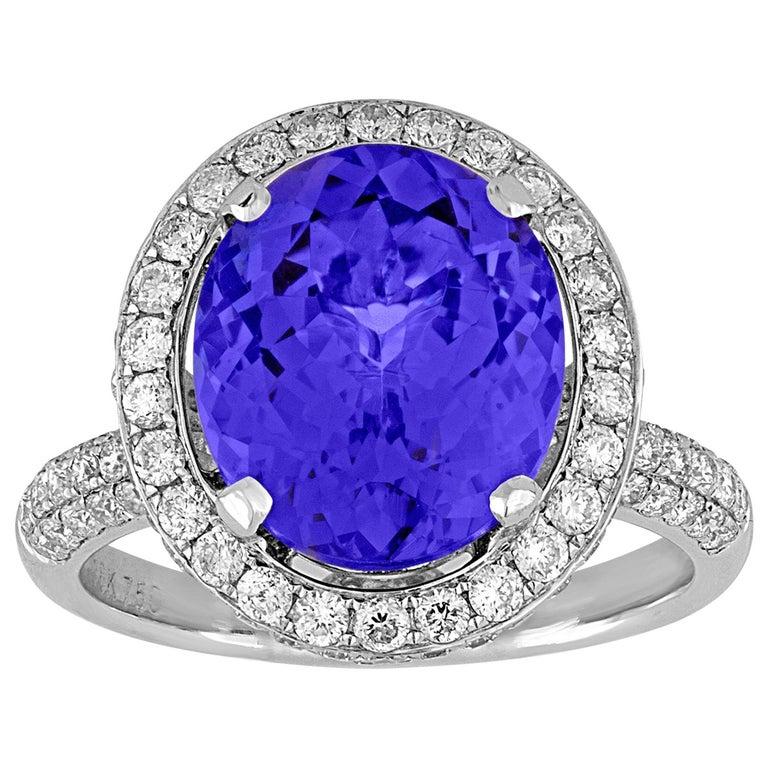 5.83 Carat Oval Tanzanite Diamond Gold Ring For Sale