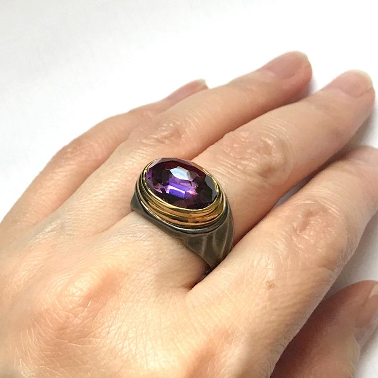 Contemporary 5.84 Carat Amethyst Cocktail Ring in 18 Karat Yellow Gold and Sterling Silver For Sale