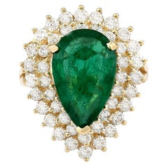 5.84 Carat Emerald 18 Karat Yellow Gold Diamond Ring