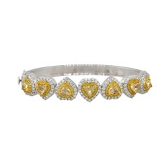 5.84 Carat Fancy Yellow Heart Diamond Bangle 18 Karat