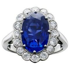 Hancocks 5.84carat Fine Sapphire  Diamond Cluster Ring