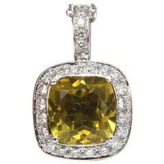 5.85 Carat Natural Cushion Brilliant Yellow Quartz Diamond Pendant Square Halo
