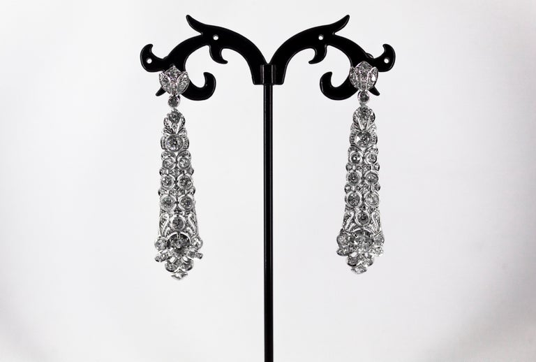5.85 Carat White Old European Cut Diamond White Gold Clip-On Drop Earrings For Sale 5