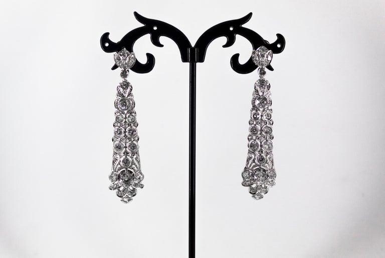 5.85 Carat White Old European Cut Diamond White Gold Clip-On Drop Earrings For Sale 6