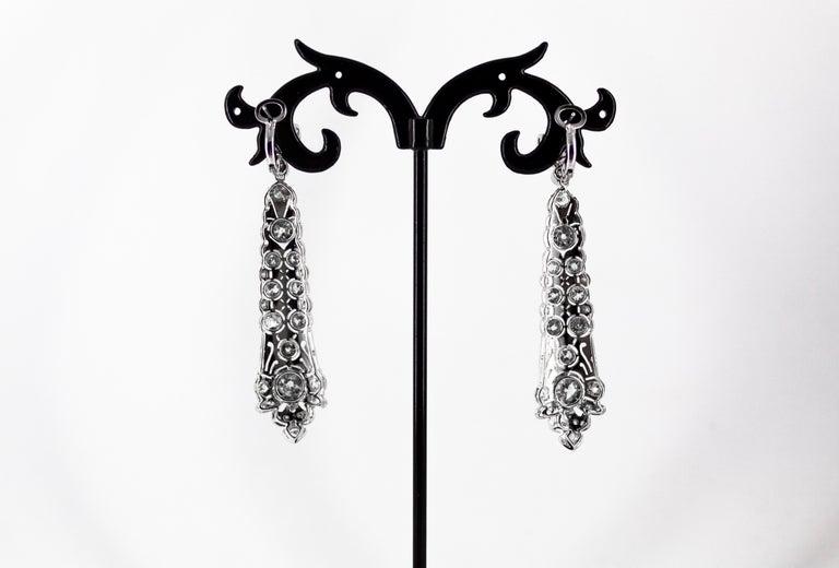 5.85 Carat White Old European Cut Diamond White Gold Clip-On Drop Earrings For Sale 8