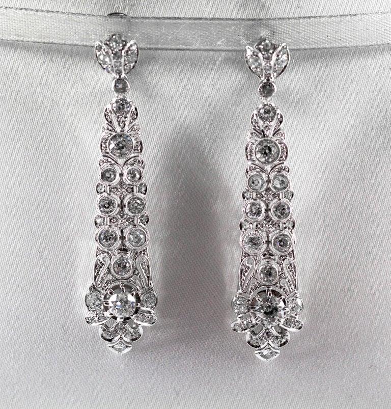 Renaissance 5.85 Carat White Old European Cut Diamond White Gold Clip-On Drop Earrings For Sale