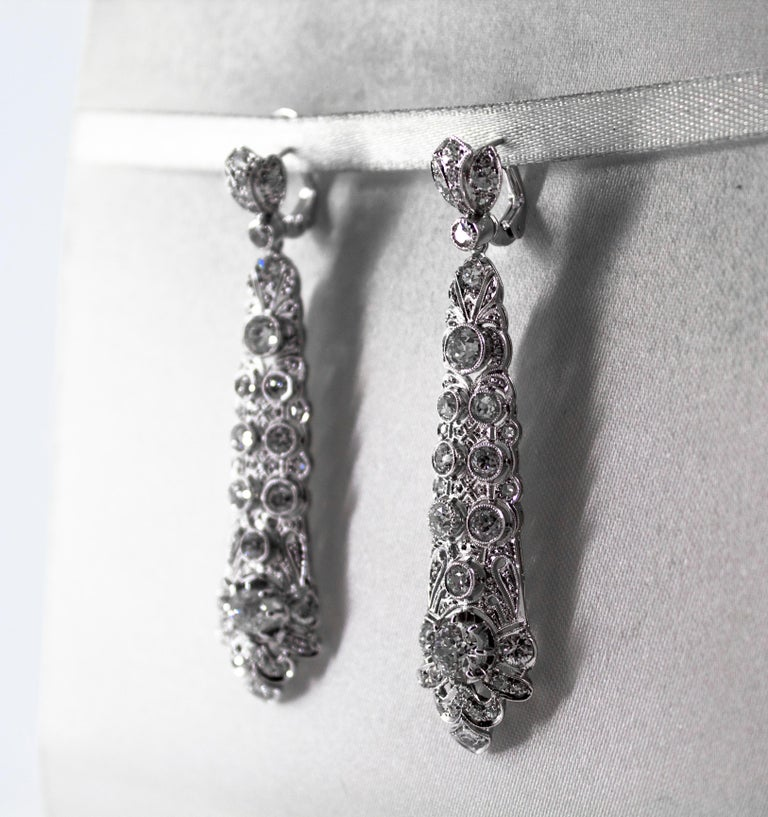 5.85 Carat White Old European Cut Diamond White Gold Clip-On Drop Earrings For Sale 1