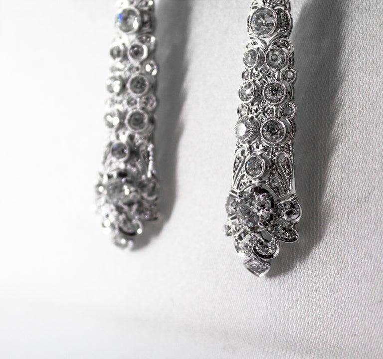 5.85 Carat White Old European Cut Diamond White Gold Clip-On Drop Earrings For Sale 2