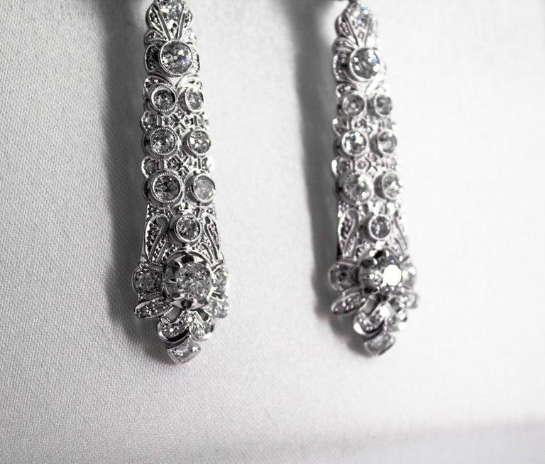 5.85 Carat White Old European Cut Diamond White Gold Clip-On Drop Earrings For Sale 3