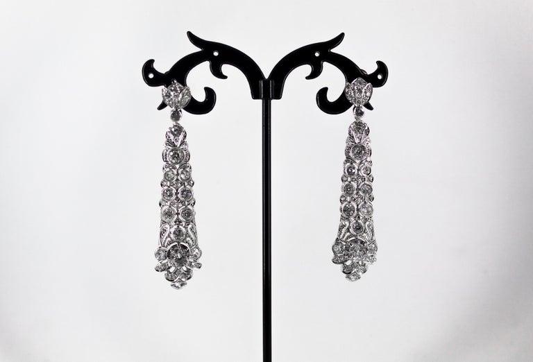 5.85 Carat White Old European Cut Diamond White Gold Clip-On Drop Earrings For Sale 4