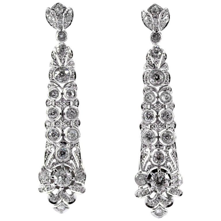 5.85 Carat White Old European Cut Diamond White Gold Clip-On Drop Earrings For Sale