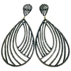 5.85 Carat Diamond Earring in Oxidized Sterling Silver, 14 Karat Gold
