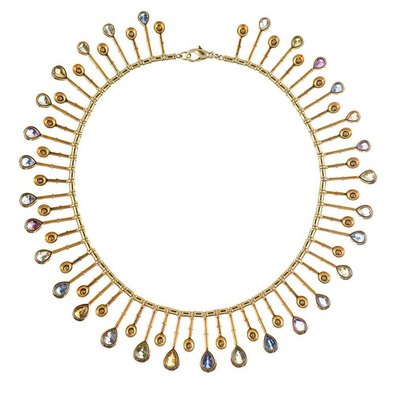"""Mixed Cut 58.59 """"No Heat"""" Sapphire and Diamond Collar For Sale"""