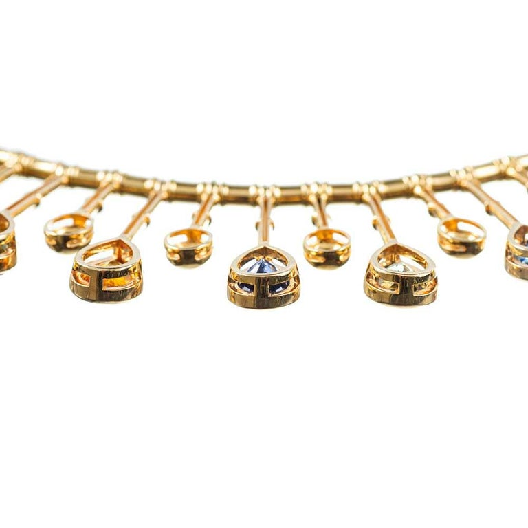 """58.59 """"No Heat"""" Sapphire and Diamond Collar In New Condition For Sale In Carmel-by-the-Sea, CA"""