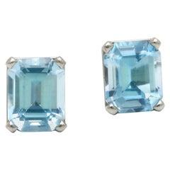 5.86 Carat Aquamarine and Platinum Studs, Diana Kim England