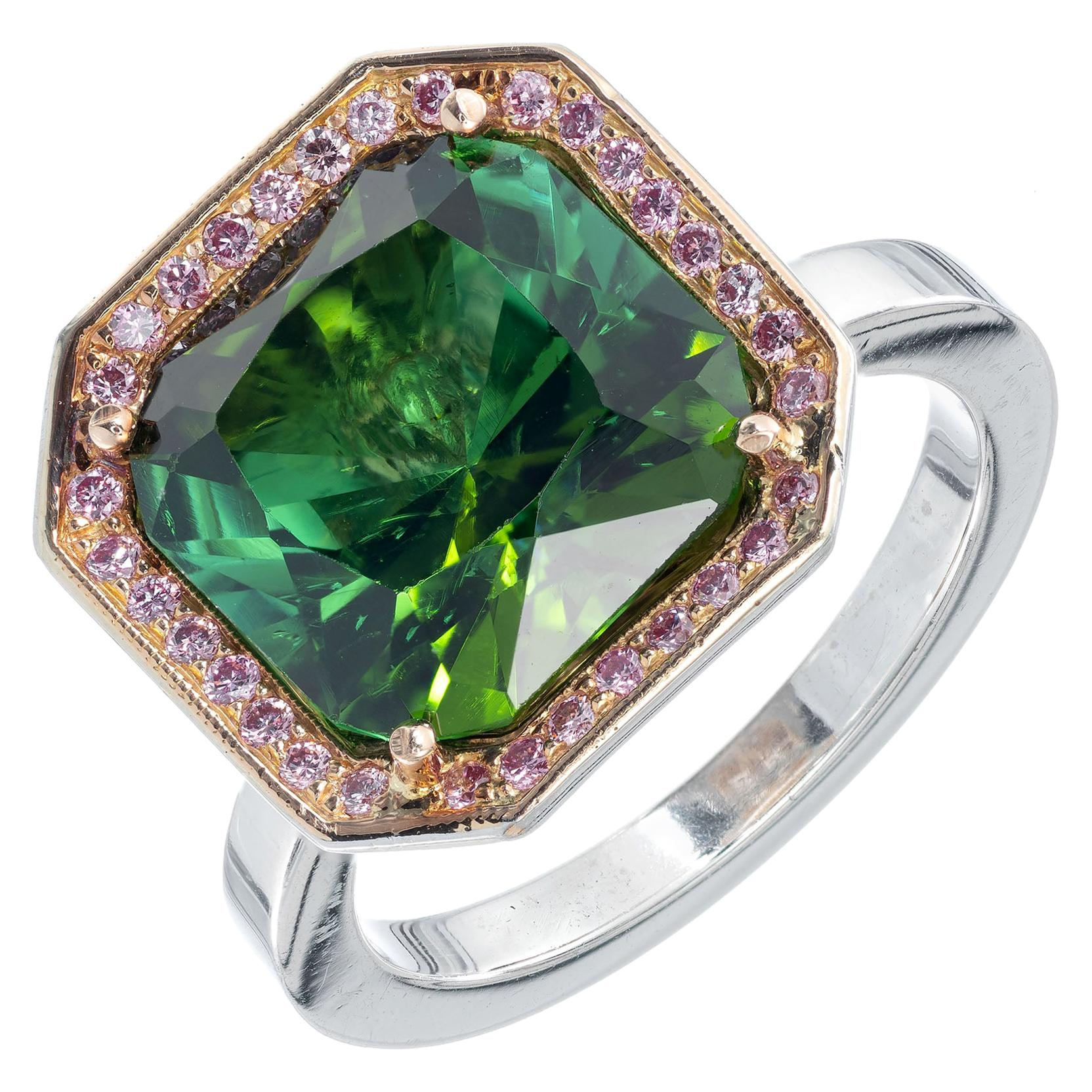 5.86 Carat Green Tourmaline Diamond Halo Platinum Gold Cocktail Ring