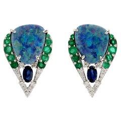 5.86 Carat Opal Emerald Diamond 18 Karat Gold Stud Earrings