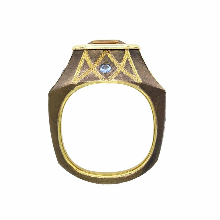 Women's or Men's 5.86 Carat Precious Topaz Ring in Bronze with Blue Sapphires For Sale