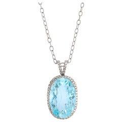 58.67 Carat Aquamarine Diamond Pendant