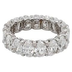 5.87 Carat Oval Diamond Eternity Band in Platinum, 17 Diamonds F, VVS