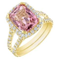 5.87 Carat Tourmaline Diamond 18 Karat Yellow Gold Cocktail Ring