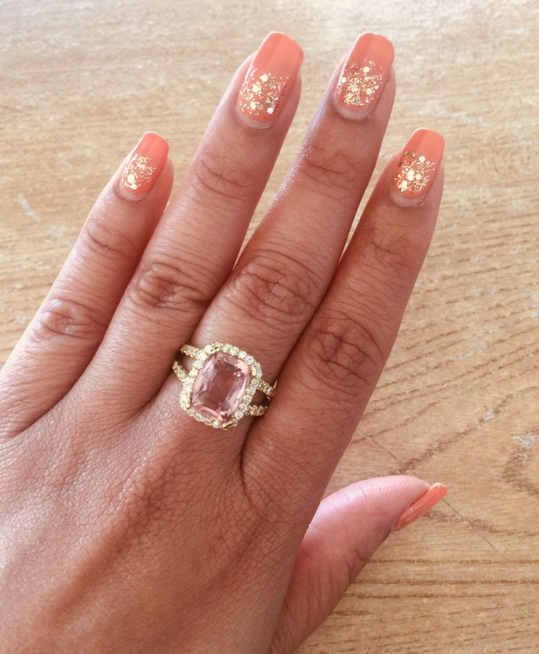 Modern 5.87 Carat Tourmaline Diamond 18 Karat Yellow Gold Cocktail Ring For Sale
