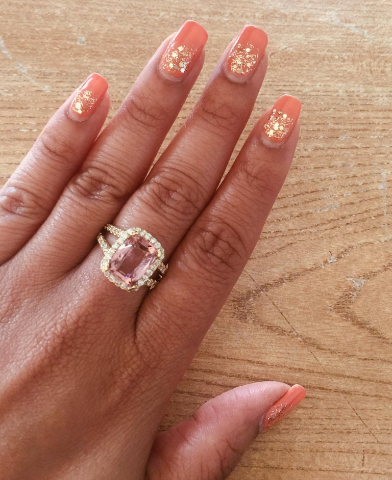 5.87 Carat Tourmaline Diamond 18 Karat Yellow Gold Cocktail Ring In New Condition For Sale In San Dimas, CA