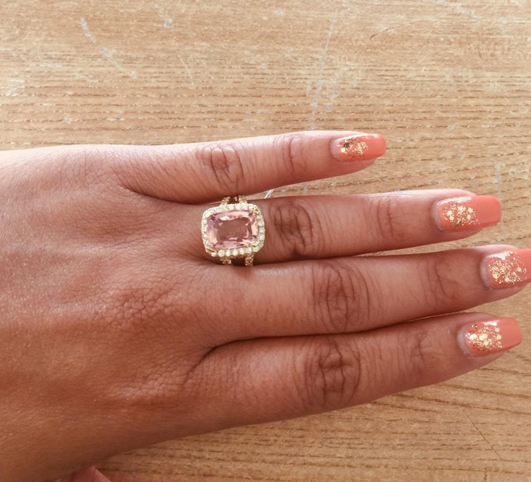 Women's 5.87 Carat Tourmaline Diamond 18 Karat Yellow Gold Cocktail Ring For Sale