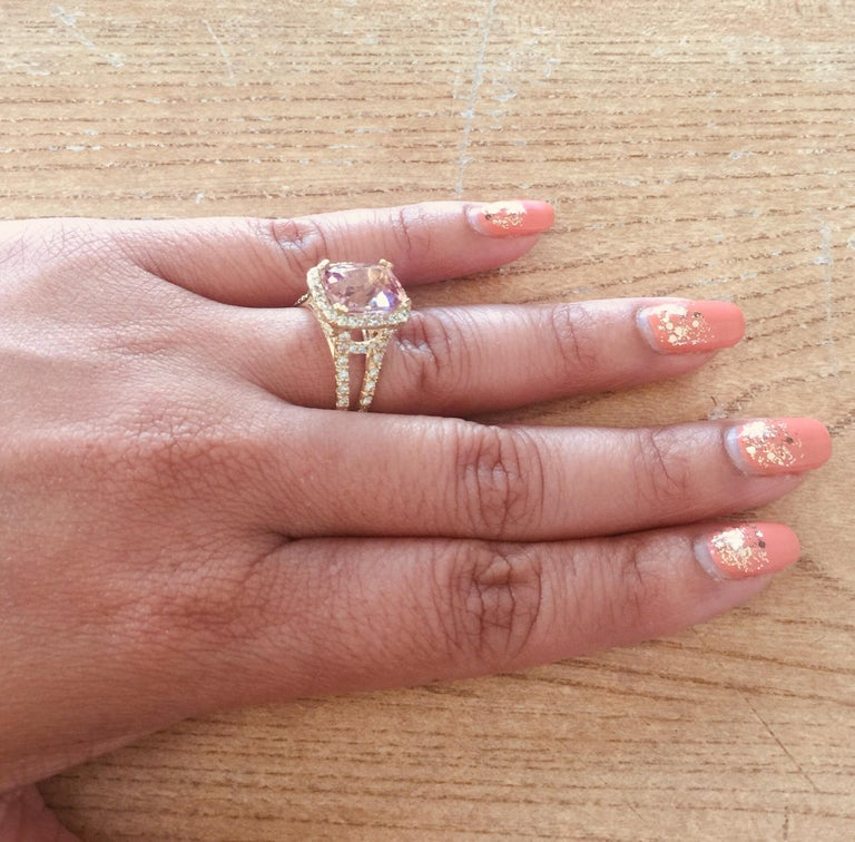 5.87 Carat Tourmaline Diamond 18 Karat Yellow Gold Cocktail Ring For Sale 1