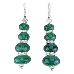 Certified 58.72 Carat Emerald Beads Dangle Earrings