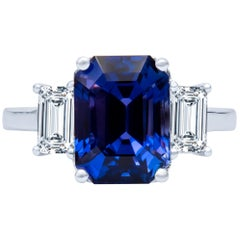 5.87ct Natural Color-change Ceylon Sapphire, No-heat Blue to Purple 3-Stone Ring