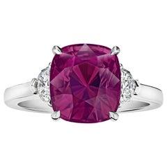 5.88 Carat Cushion Pinkish Red Sapphire and Diamond Ring