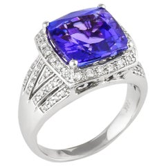 5.88 Carat Cushion Shaped Tanzanite Ring in 18 Karat White Gold with Diamonds