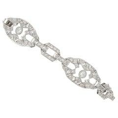 5.88 Carat Diamond and Platinum Bracelet, Art Deco, Antique, circa 1930