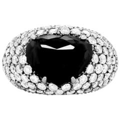 5.88 Carat Heart Shaped Black and White Diamond Cocktail Ring 14K White Gold