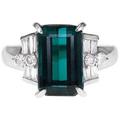 5.88 Carat Mint Tourmaline White Diamond Ring Set in Platinum PT900 Wedding Ring