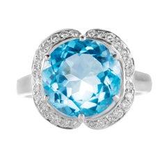 5.88 Carat Round Blue Topaz Diamond 18 Karat White Gold Cocktail Ring
