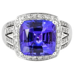 5.88 Carat Tanzanite and White Diamond Ring in 18 Karat White Gold