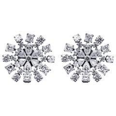 5.89 Carat Diamond Flower Shaped Earring