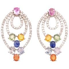 5.89 Carat Multi-Sapphire Earrings