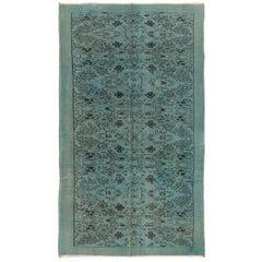 Vintage Handmade Floral Area Rug Over-Dyed in Light Blue