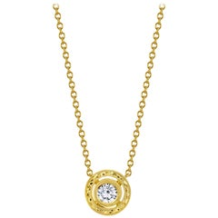 .59 ct. t.w. Diamond, 18k Yellow Gold Handmade Engraved Circle Pendant Necklace