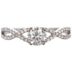 .59 Carat Diamond Swirl Infinity White Gold Diamond Engagement Ring