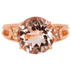 5.9 Carat Morganite and Diamond Ring in 18 Karat Rose Gold