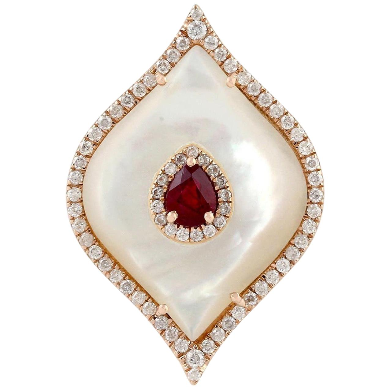 Ruby Mother of Pearl Diamond 18 Karat Cocktail Ring