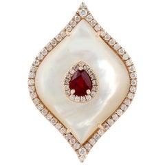5.9 Carat Mother of Pearl Diamond Ruby 18 Karat Cocktail Ring