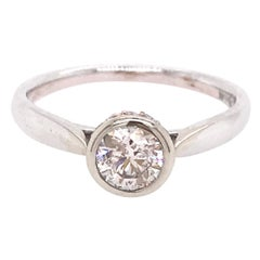.59 Carat Round Brilliant Diamond Solitaire Engagement Ring with Diamond Crown