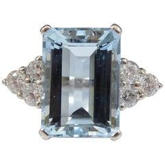 5.90 Carat Emerald Cut Aquamaring Ring, Diamond Shoulders, Hallmarked Platinum