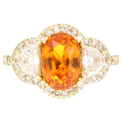 5.90 Carat GIA Certified Orange Sapphire Diamond 18 Karat Yellow Gold Ring